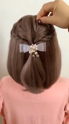 Front Hair Styles, Short Hair Styles Easy, Medium Hair Styles, Curly Hair Styles, Kawaii Hairstyles, Bun Hairstyles For Long Hair, Braids For Short Hair, Hair Style Vedio, Hair Tutorials For Medium Hair