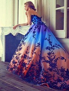 A line prom dress ,ball gown dresses,orange blue charming dress G397