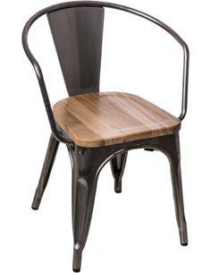 Krzesło Paris Arms Wood metal jesion