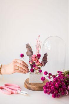 Selbstgemachte Glasglocken und Trockenblumen? Ja, für euch kombinieren wir beide Trends und zeigen wie einfach es ist eine Glasglocke mit getrockneten Blumen zu basteln. Los geht's! Boquette Flowers, Balloon Flowers, Flower Boxes, Dried Flowers, Beautiful Flowers, Deco Floral, Arte Floral, Diy Wanddekorationen, Flower Factory