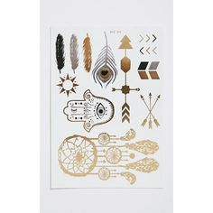Tanesha Metallic Feather Temporary Tattoo Set-One Size ($2.87) ❤ liked on Polyvore featuring accessories, body art and yellow