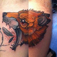 Crawling Fox Head Tattoo