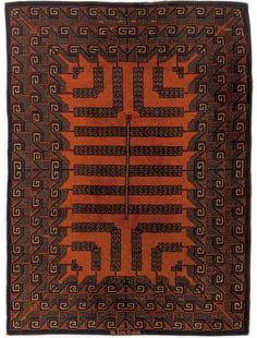 DA SILVA BRUHNS Ivan (1881-1980) pour La Manufacture de Savigny Rare et important tapis en laine, à motifs centralés dans le goût aztèque de grecques blanches doublées de marron tête-de-nègre sur fond brun-rouille. - Camard & Associés - 01/12/2008