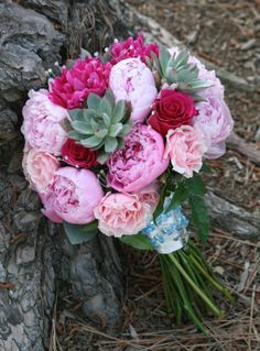 Peonies, roses and succulents