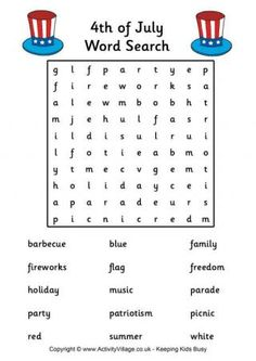 July 4th Word Search Printables For Kids Free Word