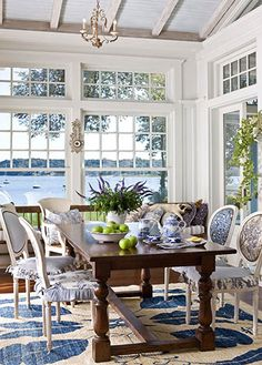 Waterside home - dining area
