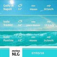 Buon Lunedi! Cominciamo la settimana con maltempo un po' ovunque; nello specifico avremo nubi sparse su Golfo di Napoli ed Isole Tremiti, pioggia con possibili schiarite su Isole Pontine. Le temperature oscilleranno tra gli 11°C ed i 14°C ed i mari saranno per lo più mossi.