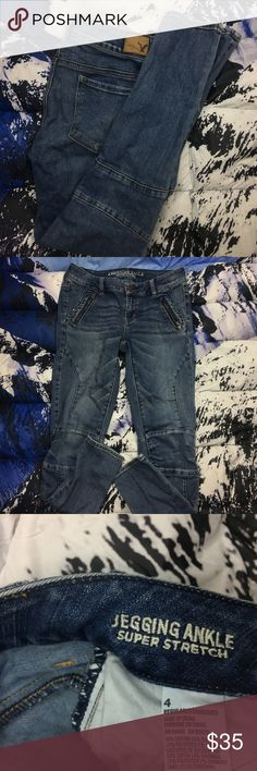 🔥 American Eagle Jegging Ankle Denim Super Jeans American Eagle Jegging Ankle Denim Super Jeans   ,Please Refer to the Pictures  Size 4 Regular  Measurements:   • Waist - 14 (28) in  • Rise - 8 in  • Inseam - 27.5 in  Thank You for checking Out This Item :) , Be sure to add other Items from my Closet to Your Bundle before you Checkout for 10% off your order!  Fishman16 - P65 Cross American Eagle Jeans