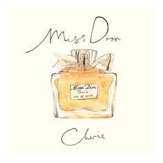 Miss Dior Cherie, from original watercolour,  29x29cm print