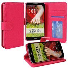 myLife Rose Pink {Classic Design} Faux Leather (Multipurpose - Card, Cash and ID Holder + Magnetic Closing) Folio Slimfold Wallet for the LG...