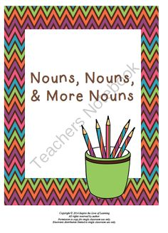 Nouns, Nouns, & More Nouns from Inspire the Love of Learning on TeachersNotebook.com -  (11 pages)  - This product provides explanations on nouns and plural nouns along with plenty of practice! A page of plural noun bookmarks are included too!