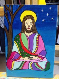 A yoga de Jesus - Acrílico em tela