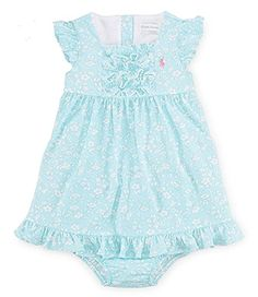 Cute flutter sleeves on this dress.  Better than spaghetti straps but cooler then short sleeves.  -  Ralph Lauren Baby Girls Floral Cotton Dress & Bloomer (18 Months , Aqua Blue Multi)