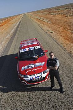 Holden (GM Australia) Maloo R8 ute...seen here with driver Mark Skaife during a stop near Woomera, South Australia for Mobil 1's Drive Around Australia cross-country test...