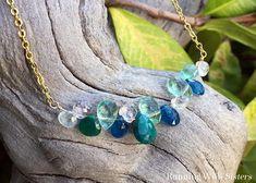 Blue Bib Necklace Necklace Spring Necklace Bead Necklace Aqua Blue Small Bib Lightweight Statement Aluminum Summer Bridesmaids