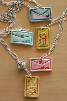 Clay letter and stamp necklaces
