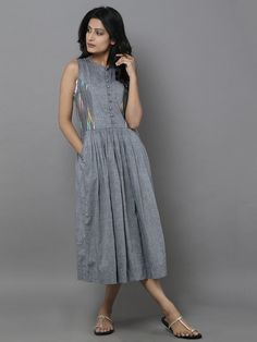 Grey Cotton Ikat Dress