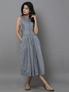 Grey Cotton Ikat Dress