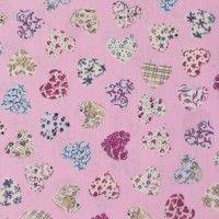 Baumwollstoff Stoff Herzen rosa 001