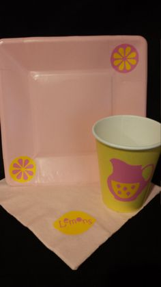 Pink Lemonade Birthday Party Paper Plates Napkins Cups Vinyl Decorated Disposable Partyware Pink and Yellow Party Items Bridal Tea or Shower by BayBaysBoutique on Etsy