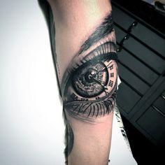 Guys Forearm Eye Tattoo With Roman Numeral Tattoo