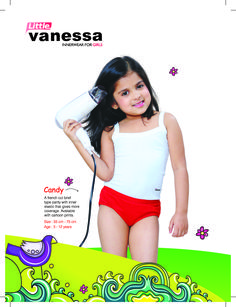 CANDY  Inner elastic panty for kids with more coverage, 100% cotton single jersey fabric,French cut brief type pattern. Attractive cartoon prints added.