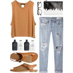 west coast fashion by teennetwork on Polyvore featuring rag & bone/JEAN, Balenciaga, Monki, Illesteva, Calvin Klein, black, tanktop, orange and ootd