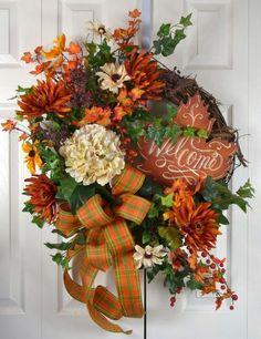 Fall Hydrangea Autumn Wreath by Gaslight Floral Design… Thanksgiving Wreaths, Autumn Wreaths, Holiday Wreaths, Holiday Decor, Holiday Crafts, Welcome Fall, Welcome Wreath, Mobiles, Outdoor Wreaths