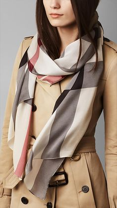 Check Silk Satin Scarf   Burberry Burberry Scarf, Burberry Trench, Silk  Material, Checked 7b6820b8a3f