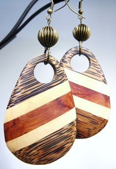 Bamboozled EarringsBamboo Wood Antiqued Brass by FrostBrite, $20.00