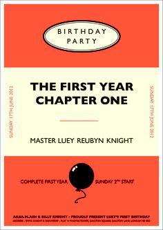 Luey Reubyn Knight 1st Birthday invite - By Ailsa Ash