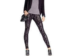 Get glam in HUE Foil Brocade Ponte Leggings. Rock out in style and pair these leggings with a t-shirt on the weekend or a stylish top for a night on the town. Hue.com