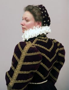 Elizabethan noble gown. The general shape of this gown, save for the sleeves, is from figure 7 in Janet Arnold's Queen Elizabeth's Wardrobe Unlock'd.