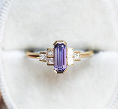 Art Deco Lavender Sapphire Diamond Ring, Emerald Cut Baguette Engagement Ring, Artdeco Diamond Ring by Minimalvs – diamond rings engagement Baguette Engagement Ring, Baguette Diamond Rings, Diamond Engagement Rings, Custom Jewelry, Gold Jewelry, Jewelry Rings, Jewellery, Jewelry Ideas, Diamond Jewelry