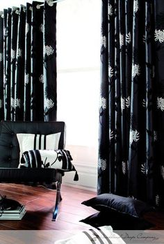 Almada Black - Charles Parsons Interiors drapery / curtain fabric in black and white.
