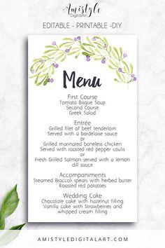 Printable Wedding Menu Card- with adorable watercolor olive elements - Editable PDF