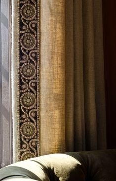 Beautiful embroidered trim on these linen draperies. #fabric http://www.aftershocksinteriordecorating.com