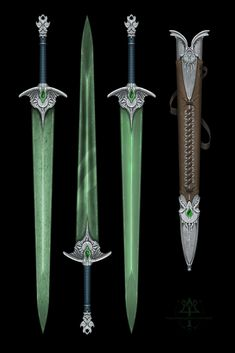 [comm] Designs - emerald blade by Kredri on DeviantArt Fantasy Blade, Fantasy Sword, Fantasy Weapons, Fantasy Rpg, Medieval Fantasy, Sword Design, Dungeons And Dragons Homebrew, Weapon Concept Art, High Fantasy