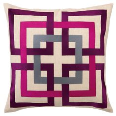 trina turk shanghai links purple embroidered linen #pillow #interior #design