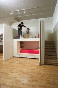 built-in bunk / loft. I can visualize this as a larger studio apartment for an adult, with a home office (or a storage area) above the bed. Pull the doors shut during the day and the bed will disappear, and the office will have a loft-like appearance. Kid Spaces, Small Spaces, Small Rooms, Built In Bunks, Kids Bunk Beds, Studio Apartment, Apartment Office, Apartment Layout, Apartment Design