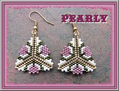 Explore pearly beads' photos o Beaded Earrings Patterns, Peyote Patterns, Seed Bead Earrings, Beading Patterns, Bracelet Patterns, Seed Beads, Beading Tutorials, Beading Projects, Peyote Stitch