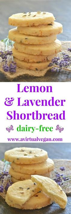 """This beautifully rich Lemon Lavender Shortbread is full of zesty lemon flavour with delicious subtle bursts of floral lavender in every bite. It literally melts in your mouth and has perfect shortbread """"snappability""""! It is also dairy-free & vegan."""