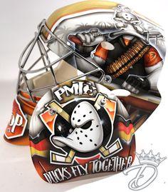 NHL Goalie Masks are the bees knees Sled Hockey, Hockey Helmet, Hockey Goalie, Football Helmets, Hockey Logos, Nottingham Panthers, Nhl, Hockey Bedroom, Ducks Hockey