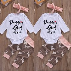 Christmas Newborn Infant Early Baby Girl Clothes Set Tops Pants Bodysuit Outfits Headband 3pcs Cute Baby Girls Clothing #ChristmasOutfit