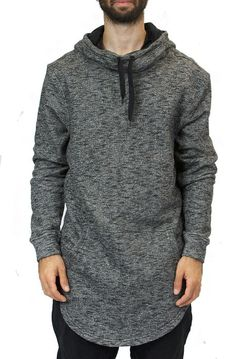 439945560db Tag Twenty Two Elongated Cowl Neck Hoodie in Marble Black Cowl Neck Hoodie  Mens