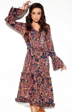 Lemoniade Wzorzysta sukienka midi LG508/D2 High Neck Dress, Casual, Dresses, Fashion, Turtleneck Dress, Vestidos, Moda, Fashion Styles, The Dress