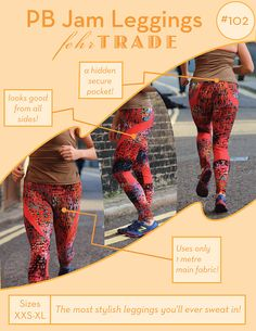 PB Jam Leggings - PDF sewing pattern for exercise gear - Stylish leggings with hidden pocket