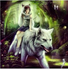 Princess Mononoke- San and her wolf brother fan art