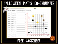 This is a Halloween-themed worksheet on locating coordinates in the first quadrant. You may also be interested in: Halloween Themed Coordinates in First Qu. Halloween Math, Halloween Themes, 5th Grade Math, Free Math, Primary Classroom, Math For Kids, 5th Grades, Teaching Resources, Sentences