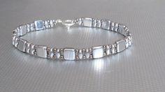 silver bracelet czechmate beads beaded bracelet by beadnurse